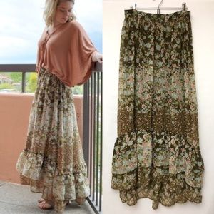 H&M Tiered Floral Maxi Skirt Peasant Boho Green